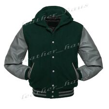 Genuine Leather Sleeve Letterman College Varsity Wool Jacket HoodieGYS-GYS-GYBH1