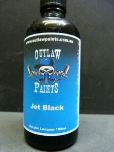Outlaw Paint Jet Black Acrylic Lacquer in a big 100mL jar.