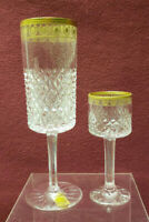 (2) BAYEL French Crystal - PALAIS GOLD Pattern - Champagne Flute & Cordial