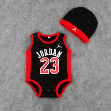 BABY SLEEVELESS JORDAN 23 ROMPER +HAT BOY GIRL BABYGROW OUTFITS CLOTHES 3-6 m