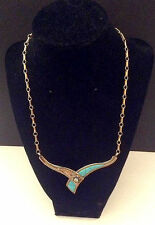 (A51) Native American Inspired 14K Gold Plate Over Sterling Silver W/ Turquoise