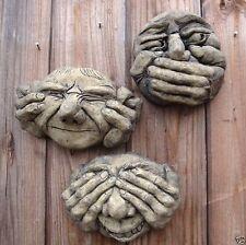 "Ugly faces gargoyle STONE wall plaques set 3 See Hear Speak no Evil 12cm/5"" H"