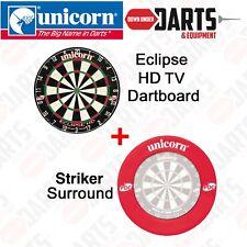 Unicorn Eclipse HD TV PDC Approved Dart Board PLUS RED Striker Surround