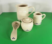 Friendship Pottery Roseville OH COUNTRY PETALS Creamer Sugar Pitcher Spoon Rest