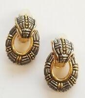 Vintage Gold & Silver tone & Black Dangle Clip on Earrings Estate Jewelry