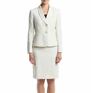Le Suit Women's Shawl-Collar Tweed Skirt Suit Seychelles Cream Size 8 MSRP$200