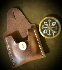 """Bushcraft 2"""" Brass Compass w/ Leather Case gear survival kit possibles"""