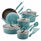 12pc Rachel Ray Cookware Set Nonstick Blue Pots Pans Lids Teal Non Stick Rachael