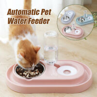 Double Automatic  Food Drink Bowl Dispenser Dog Cat Feeder Water Dish Fo