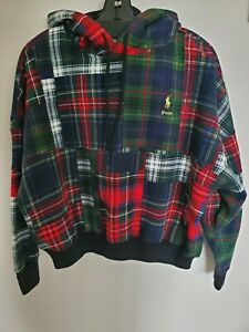 NWT Polo Ralph Lauren Women's Plaid Patchwork Hoodie Sweatshirt Size M