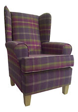 Wing Back/Fireside Chair in Balmoral Amethyst Tartan Fabric on Beech Legs