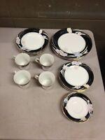 Mikasa Fine China L9050 Charisma Black Japan 18 PCS Dinner Sald Plates Cups Bowl