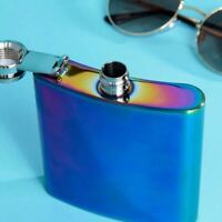 Fizz Creations Colourful Iridescent Design Stainless Steel Festival Hip Flask