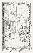 """""""LA VIELLE D'ARGENT (Chanson Saintongeoise)"""" Gravure orig. entoilée  L. METIVET"""