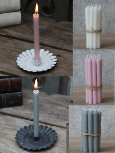 7 x Short Thin Mini Dinner Candles French Chic Holder Shabby Grey Night Pink