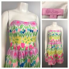 Lilly Pulitzer Strapless Pastel Mini Dress Floral Sleeveless Dress Size 2