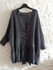 Zuza Bart Art To Wear XL Lagenlook Cardifan Jacket Boucle Linen Knit