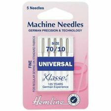 Hemline Universal Sewing Machine Needles Fine Size - 70 / 10