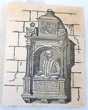 1832 magazine engraving ~ tombstone of WILLIAM SHAKESPEARE