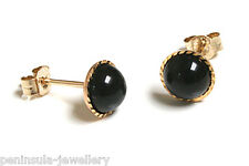 9ct Gold Black Onyx Button Studs earrings Gift Boxed Made in UK Christmas Gift