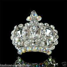 w Swarovski Crystal Queen Royal ~Crown~~ Bridal Wedding Princess Adjustable Ring