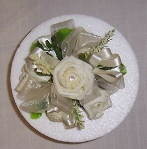 wedding flowers ivory single round cake topper roses rbbons greenery diamantes