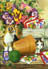 NEW TOLAND GARDEN FLAG LITTLE BLOOMERS KITTENS CATS PANSIES SEED PACKS 12.5 X 18