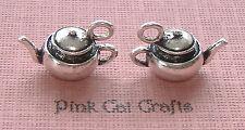 5 x Tibetan Silver TEA POT VINTAGE HEAVY KETTLE 3D Charms Pendants Beads