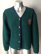 Pendleton Crest Vintage 90s Wool Cardigan Jacket Sweater Green BLue Coat Size L