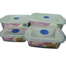NEW Food Saver Storage Containers Plastic Set of 4 Free BPA MICROWAVE BOX