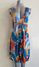 E-Lady Shift Dress, Sleeveless, Empire Waist, Multi-Coloured Floral Print, Sz 12