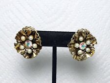 Vintage Gold Flower Clip-on Earrings Pearl And Rhinestone