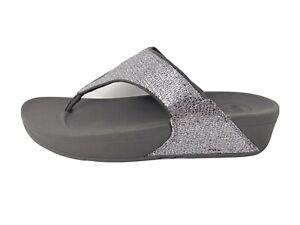 FitFlop 639-011 Lulu Superglitz Silver Thong Sandals Women's Size US 10/EU 42