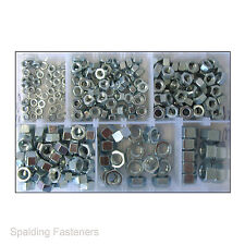 """Assorted 3/16"""", 1/4"""", 5/16"""", 3/8"""", 7/16"""" & 1/2"""" UNF Zinc Plated Hex Full Nuts"""