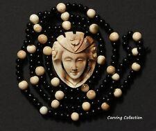 CATENA CON CIONDOLO MANO scolpito beads necklace with carved pendant