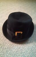 000 Vintage Henry Pollak Black Wool Buckle Boy George Style Hat