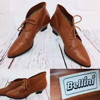 Stunning Bellini Vintage Womens Lace Up Ankle Real Leather Boots Brown Tan 38 6