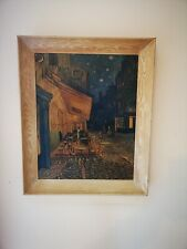 Wood Frame Fiehl Reproduction Of Van Gogh 'Cafe Terrace By Night' Oil On Canvas
