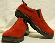 SIZE 6.5M, RED SUEDE, LANDS END, SLIP ON SHOES, CLOGS, RUBBER SOLES, COMFORT