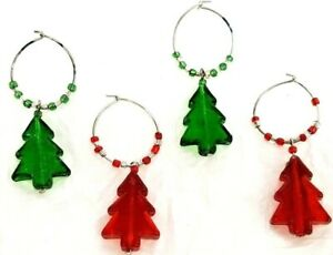 """Holiday Wine Markers Charms Set of 4 Christmas Tree Shaped Glass W/Beads 2"""" x 1"""""""