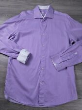 Bugatchi Uomo Men's Long Sleeve Button Up Purple White Dress Shirt Size 17 36/37