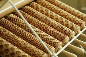 Embossed embossing rolling pin wooden laser cut CHOOSE PATTERN designs cookies