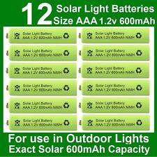 12 x AAA Solar Light Batteries 1.2V 600mAh NiMH for Outdoor Garden Lights UK