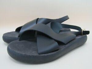 Ancient Greek Sandals Maria Comfort Women's Black Leather Sandals Size 11