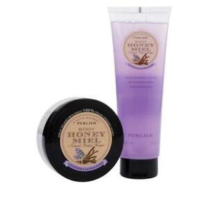 Perlier Honey Lavender & Sandalwood Bath & Body Set Shower Cream & Body Balm NEW