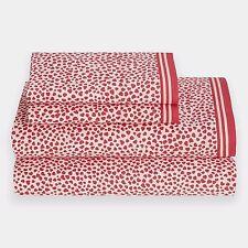 $54 Tommy Hilfiger Heartland Cherry Red/White 3-Piece Twin X-Long Sheet Set
