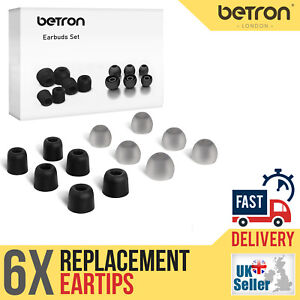 Betron Replacement Earbuds Memory foam and Silicone Eartips Set of 6
