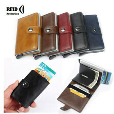 Auto Credit Card Holder Leather RFID Blocking Small Metal Wallet Money Cash Clip
