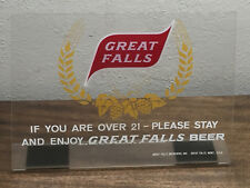 """RARE 10"""" X 7 1/2""""  ~ GREAT FALLS SELECT  BEER Plexiglas sign from MONTANA !!!"""