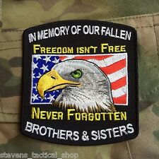 """In Memory of Our Brothers & Sisters """"Freedom Isn't Free"""" Military Patch"""